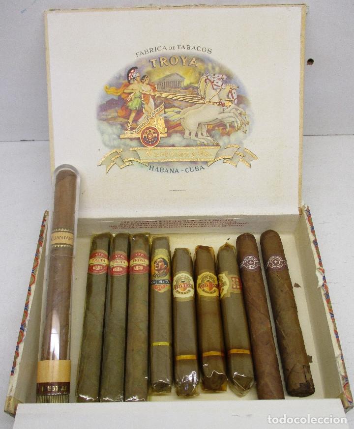 CAJA DE PUROS TROYA, MARTINEZ Y CIA, HABANA, CUBA, CON VARIOS PUROS TROYA, MONTECRISTO, ALVARO,... (Coleccionismo - Objetos para Fumar - Cajas de Puros)