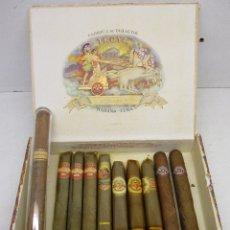 Cajas de Puros: CAJA DE PUROS TROYA, MARTINEZ Y CIA, HABANA, CUBA, CON VARIOS PUROS TROYA, MONTECRISTO, ALVARO,.... Lote 136193440