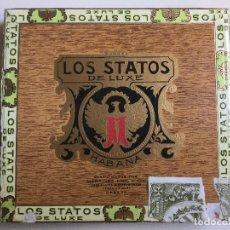 Cajas de Puros: CAJA DE PUROS LOS STATOS DE LUXE HABANA HECHO EN CUBA. Lote 138874314