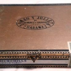 Cigar Boxes: ANTIGUA CAJA PUROS ROMEO Y JULIETA DE ÁLVAREZ Y GARCÍA. 10 CHURCHILLS ALUMINUM TUBES . CAJA PRECINTA. Lote 142994942