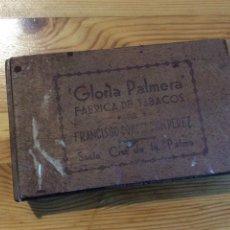 Cajas de Puros: CAJA TABACO GLORIA PALMERA SANTA CRUZ DE LA PALMA PUROS CIGARROS FRANCISCO CONCEPCION PEREZ FLOR FIN. Lote 143153961