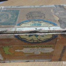 Cajas de Puros: ANTIGUA CAJA VACIA.PUROS.FABRICA DE TABACOS C.VERGARA Y CIA.CUBA.25 ELEGANTES. Lote 144395778