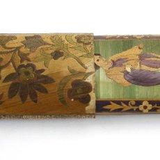 Cajas de Puros: PURERA DE MARQUETERÍA DECORADA, SIGLO XIX. 21,5X6,5CM. Lote 145316902