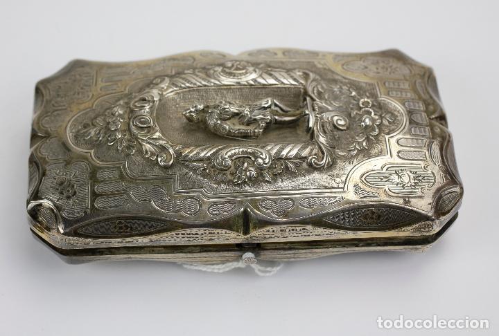 Cajas de Puros: Purera de plata repujada, siglo XIX. 14x8cm - Foto 2 - 145318674