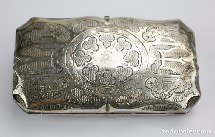 Cajas de Puros: Purera de plata repujada, siglo XIX. 14x8cm - Foto 5 - 145318674