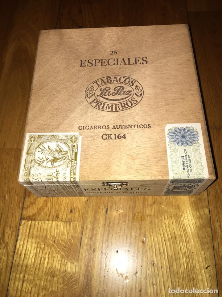 CAJA MADERA TABACOS LA PAZ PRIMEROS CIGARROS AUTÉNTICOS CK164 (Coleccionismo - Objetos para Fumar - Cajas de Puros)