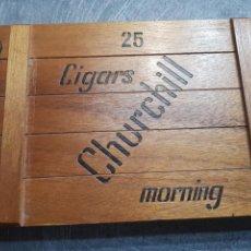 Cajas de Puros: CAJA DE PUROS CHURCHILL CON 9 PUROS DISTINTAS MARCAS. Lote 148640797