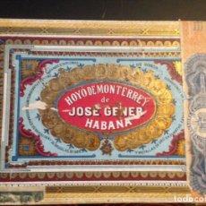 Cajas de Puros: ANTIGUA CAJA DE PUROS HOYO DE MONTERREY DE JOSÉ GENER, CUBA. CON SELLOS Y TIMBRES. VACÍA. Lote 161738150