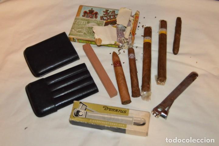 LOTE DE PUROS, PETACA Y CORTAPUROS - COHIBA, MONTECRISTO, VEGA FINA, OTROS... - VINTAGE - ENVÍO 24H (Coleccionismo - Objetos para Fumar - Cajas de Puros)
