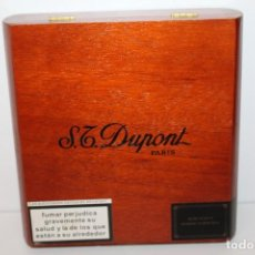 Cajas de Puros: CAJA DE MADERA S.T DUPONT PARIS 25 CIGARS MAND MADE IN DOMINICAN REPUBLIC. Lote 151133334