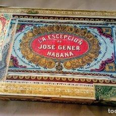 Cajas de Puros: ANTIGUA CAJA DE PUROS VACÍA LA ESCEPCIÓN DE JOSE GENER HABANA. Lote 151450810