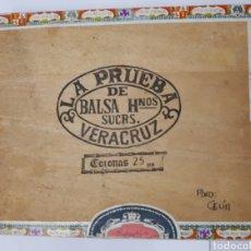 Cajas de Puros: CAJA DE PUROS LA PRUEBA, BALSA HNOS.SUCRS. VERACRUZ. VACIA. Lote 152368845