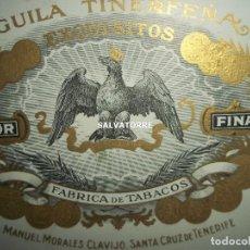 Cajas de Puros: CAJA FABRICA DE TABACOS.PUROS.HABANOS.AGUILA TINERFEÑA.SANTA CRUZ TENERIFE.CANARIAS.MANUEL CLAVIJO. Lote 158582406