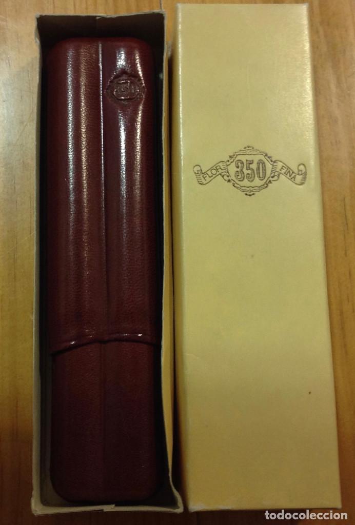 Cajas de Puros: Caja de puros, funda de cuero, para dos puros, impecable + caja metálica con puro Gran Corona - Foto 3 - 158617106