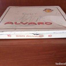 Cajas de Puros: ATIGUA CAJA DE LATA DE PUROS ALVARO - 10 DON ALVARO. Lote 158800578