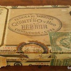 Cajas de Puros: CAJA DE PUROS QUINTERO Y HNO, HABANA CIENFUEGOS CUBA, VACÍA.. Lote 159695522