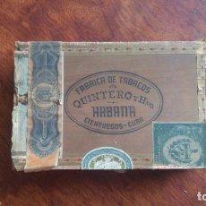 Cajas de Puros: ANTIGUA CAJA DE CIGARROS QUINTERO Y HERMANO HABANA CIENFUEGOS CUBA 25 LONDRES. Lote 160149838