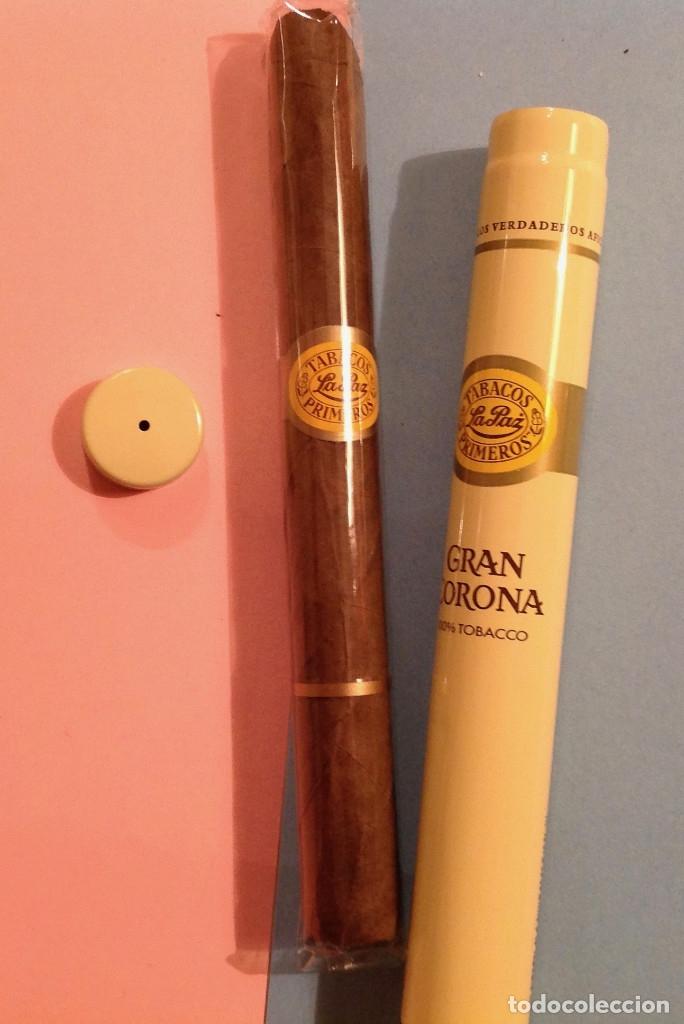 Cajas de Puros: Caja de puros, funda de cuero, para dos puros, impecable + caja metálica con puro Gran Corona - Foto 2 - 158617106