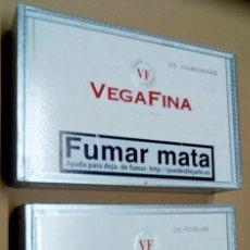 Cajas de Puros: VEGA FINA DOS CAJA PUROS MADERA VEGAFINA 25 CORONITAS 25 PERLAS. VACIAS . Lote 163648722