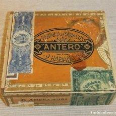 Cajas de Puros: CAJA DE PUROS VACIA - FABRICA DE TABACOS ANTERO - HABANA - CUBA - SELLOS ORIGINALES. Lote 165603690