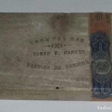 Cajas de Puros: CAJA DE PUROS DE MADERA CRUZ DEL MAR. FÁBRICA DE TABACOS TOMAS V. CAPOTE. 25 PETIT CETROS.. Lote 165605758