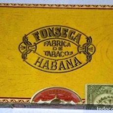 Cajas de Puros: CAJA DE PUROS FONSECA HABANA. 25 AROMAS. CON PRECINTO DE TABACALERA DE LA ÉPOCA FRANQUISTA.. Lote 165893698