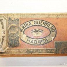 Cajas de Puros: CAJA DE PUROS MARÍA GUERRERO, HABANA, MARÍAS, VACÍA, 21,50X11 CM. Lote 166113990