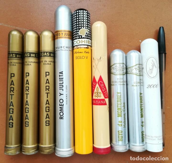 LOTE DE 8 TUBOS METÁLICOS DE PUROS CUBANOS Y 1 DAVIDOFF DOMINICANO (VACÍOS) (Coleccionismo - Objetos para Fumar - Cajas de Puros)