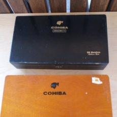Cajas de Puros: LOTE DE 2 CAJAS DE PUROS COHIBA DE MADERA SUBLIMES Y GENIOS(MADURO5). Lote 167584276