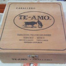 Cajas de Puros: CAJA DE PUROS VACIA TE-AMO CABALLERO VERACRUZ MEXICO. Lote 170473110