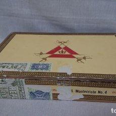 Cajas de Puros: CAJA DE PUROS VACÍA DE MADERA MONTECRISTO N° 4 - CUBA LA HABANA . Lote 171588765