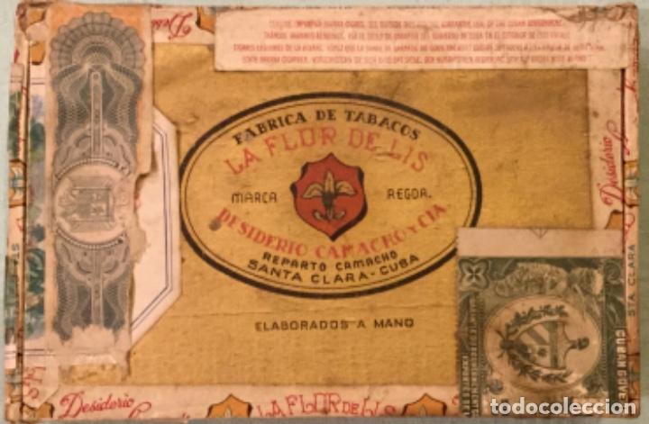 Cajas de Puros: LA FFLOR DE LIS ANTIGUA CAJA MADERA PUROS HABANOS FABRICA TABACOS DESIDERIO CAMACHO SANTA CLARA CUBA - Foto 2 - 173473209