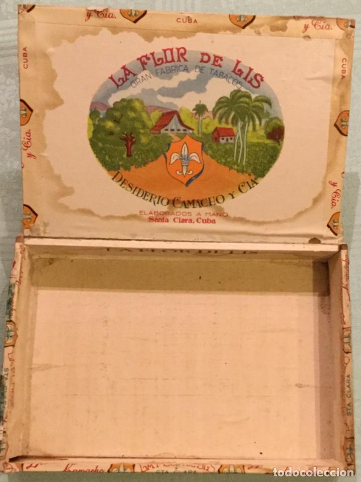 Cajas de Puros: LA FFLOR DE LIS ANTIGUA CAJA MADERA PUROS HABANOS FABRICA TABACOS DESIDERIO CAMACHO SANTA CLARA CUBA - Foto 3 - 173473209