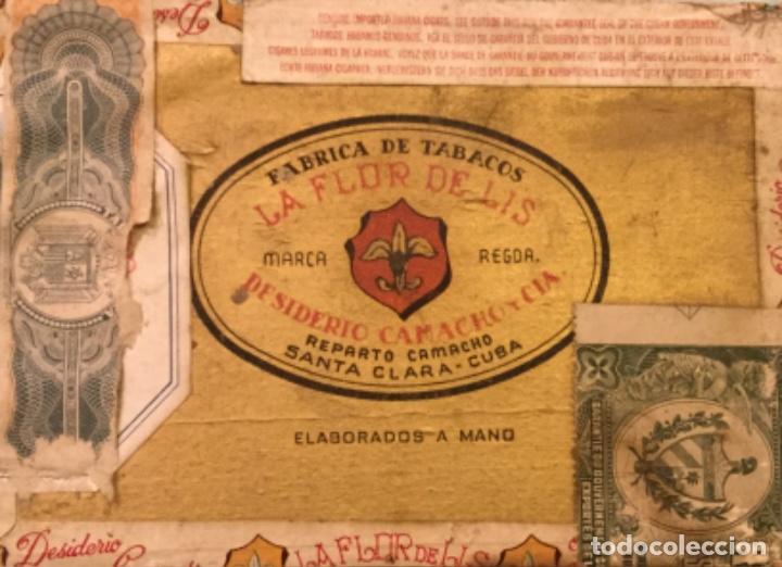 Cajas de Puros: LA FFLOR DE LIS ANTIGUA CAJA MADERA PUROS HABANOS FABRICA TABACOS DESIDERIO CAMACHO SANTA CLARA CUBA - Foto 7 - 173473209