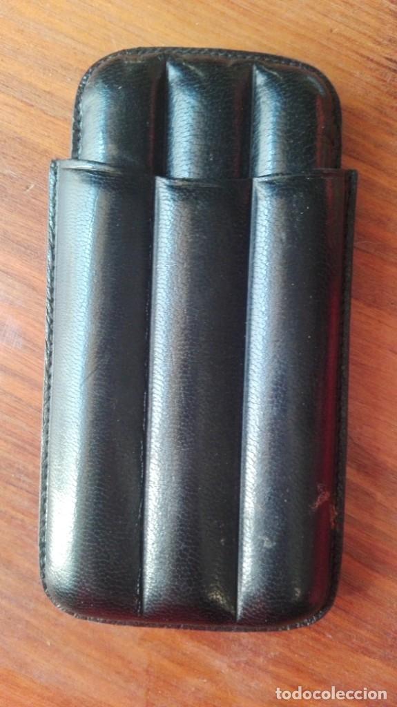 PURERA / FUNDA CUERO DE TRES PUROS / CIGARROS . COMO NUEVA (Coleccionismo - Objetos para Fumar - Cajas de Puros)