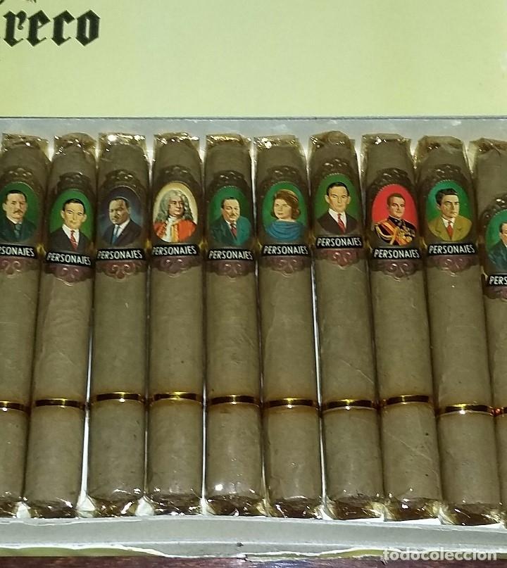 Cajas de Puros: Caja completa con 25 puros Personajes El Greco. Precintados y con vitolas. P. Capote. Canarias. - Foto 3 - 173873017