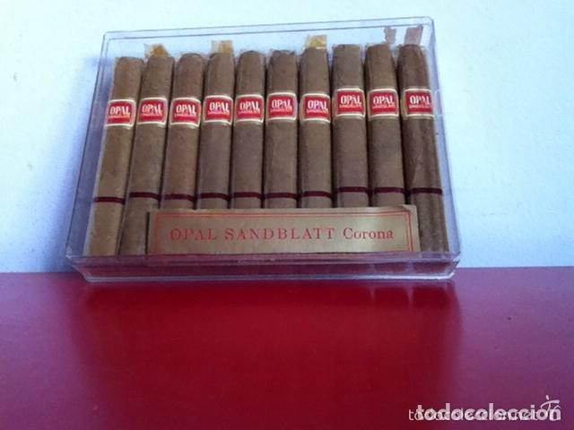 CAJA 10 PUROS ANTIGUOS.- OPAL SANDBLATT- CORONA. ( 10 CM )CELOFÁN (Coleccionismo - Objetos para Fumar - Cajas de Puros)