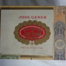 Cajas de Puros: CAJA VACIA DE PUROS HABANOS DE MADERA JOSE GENER -- HABANA -- CUBA -- 25 CORONATIONS - PREREVOLUCION. Lote 174066195
