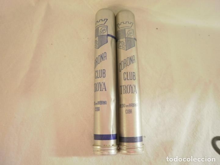 2 PUROS CUBANOS CORONA CLUB TROYA. ENVASE DE ALUMINIO (Coleccionismo - Objetos para Fumar - Cajas de Puros)