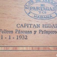 Cajas de Puros: ANTIGUA CAJA DE PUROS HUMIDOR PARTAGAS CAPITAN HIDALGO 1932. Lote 176355755