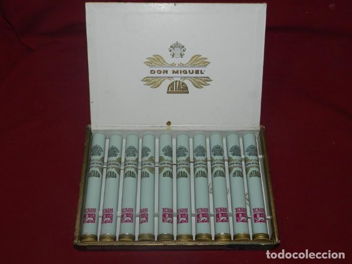 Cajas de Puros: (M) Caja de Puros Completa 10 Puros - Don Miguel Intasa, 25,5x17 cm, Señales de Uso Normales - Foto 2 - 176556425