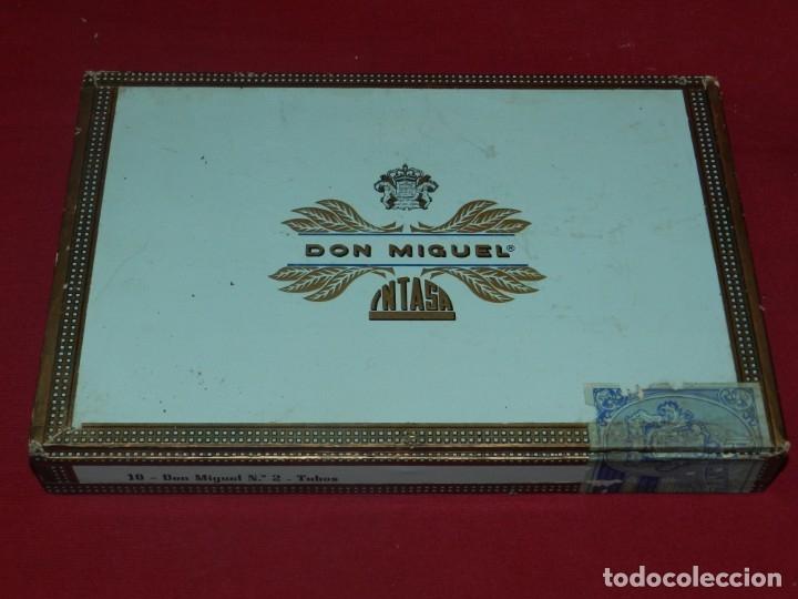 Cajas de Puros: (M) Caja de Puros Completa 10 Puros - Don Miguel Intasa, 25,5x17 cm, Señales de Uso Normales - Foto 3 - 176556425