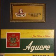 Cajas de Puros: ANTIGUA CAJA DE PUROS AGUERE EXTRA Y NAVIEROS EL GRECO . Lote 177010279
