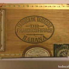 Cajas de Puros: FÁBRICA DE TABACOS DE FRANCISCO FARACH HABANA CUBA ANTIGUA CAJA MADERA PUROS HABANOS VACIA. Lote 177676555