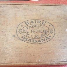 Cajas de Puros: ANTIGUA CAJA DE PUROS BAIRE HABANA CUBA. Lote 178108854