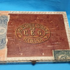 Cajas de Puros: MUY ANTIGUA CAJA VACÍA DE PUROS LA GLORIA CUBANA, HABANA . 10. Lote 178232120