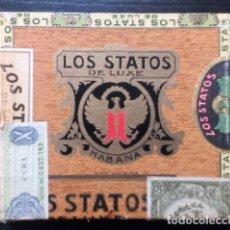 Cajas de Puros: LOS STATOS DE LUXE (CUBA). ANTIGUA CAJA DE PUROS. MARTÍNEZ HNOS. Y CÍA. CON SELLOS Y TIMBRES. Lote 178394153