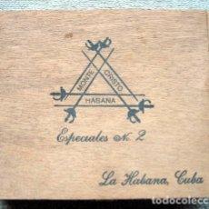 Cajas de Puros: CAJA VACÍA DE PUROS MONTECRISTO. HABANA. 25 ESPECIALES Nº 2. LA HABANA, CUBA. Lote 178889863