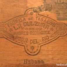 Cajas de Puros: CAJA PUROS HABANOS TABACOS LA DULZURA ANDRÉS RODRIGUEZ FINCA AJICONAL PINAR DEL RIO HABANA CUBA. Lote 178946356
