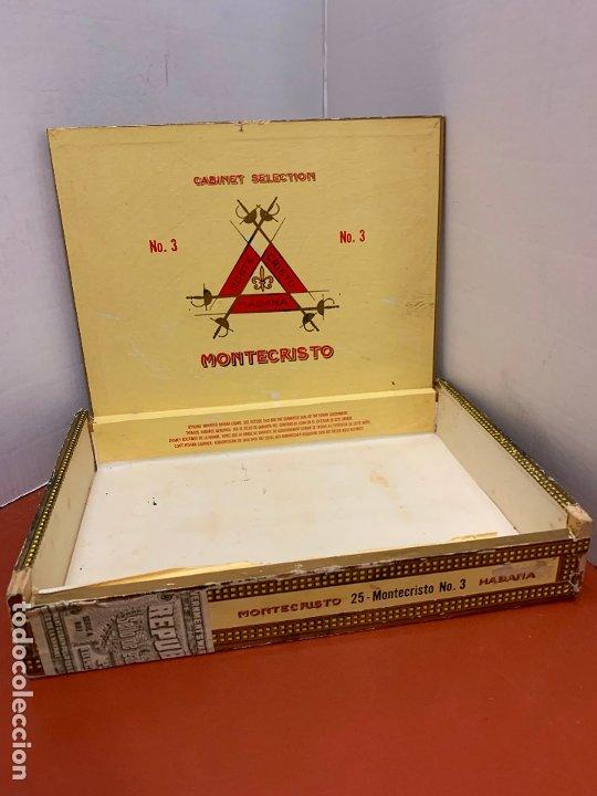 Cajas de Puros: CAJA DE PUROS HABANOS - VACIA - MONTECRISTO N.3. Mide aprox 22,5x15,5x4cms - Foto 3 - 179023181